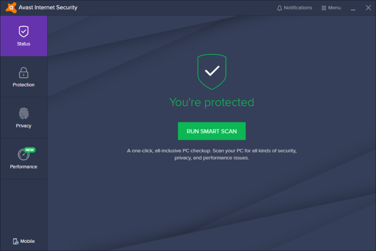 Avast Internet Security Dashboard