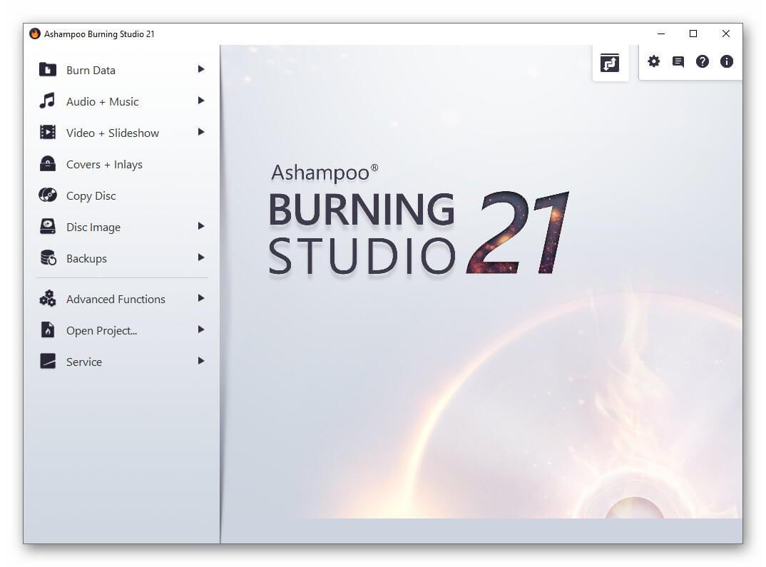 Ashampoo Burning Studio Menu