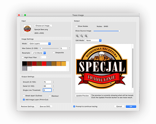 Image Trace Easy Cut Studio for Mac