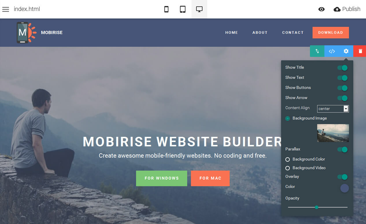 Mobirise Website Generator Tool