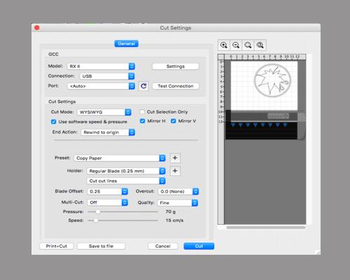cutting-settings of Easy Cut Studio for Mac