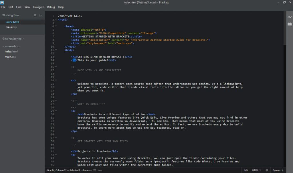 Brackets Text Editor To Write Code