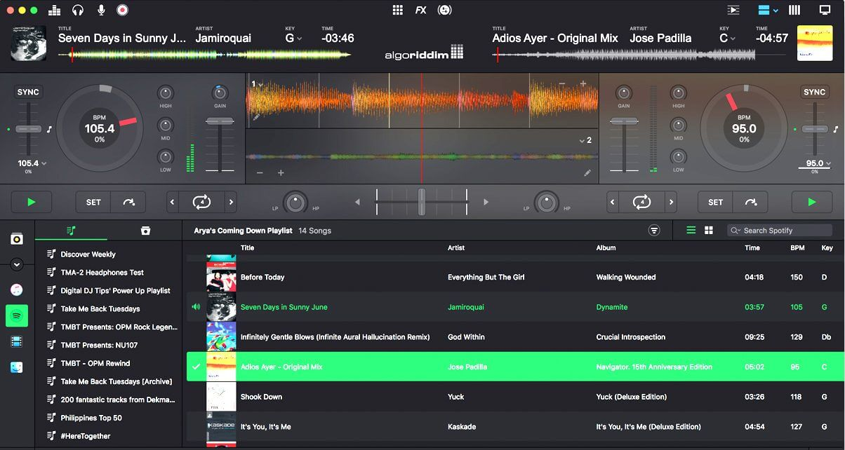 djay pro software to play song