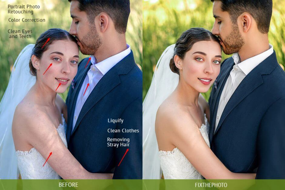 before and after editing image on FixThePhoto Photo Editor