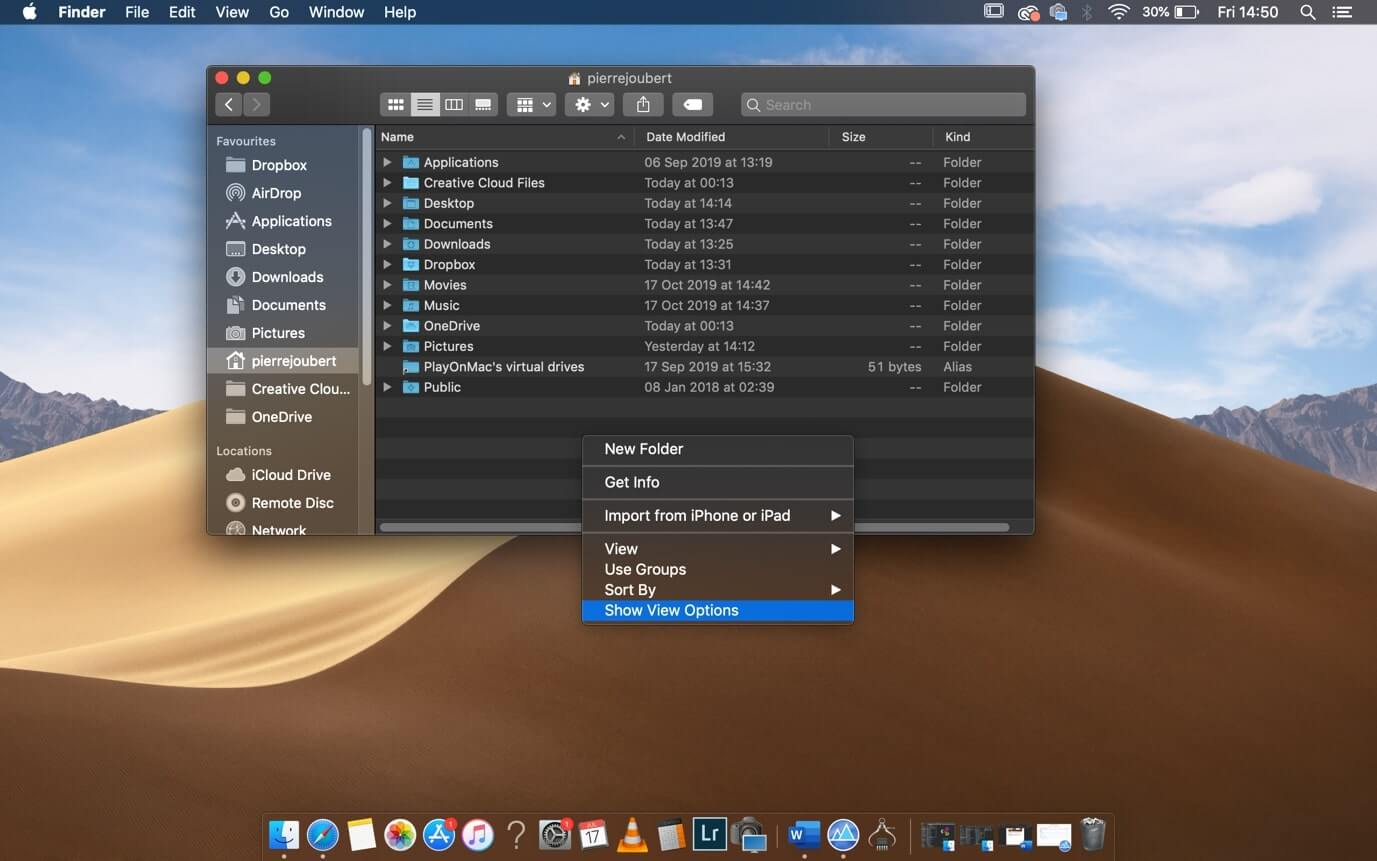 Dropbox home folder setting